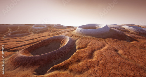 Foto op Aluminium Zalm Extremely detailed and realistic high resolution 3d illustration of a Mars like landscape