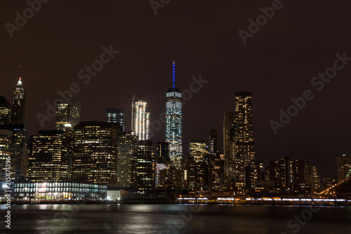 Canvas Prints New York Skyline of downtown Manhattan by night, New York, United States of America
