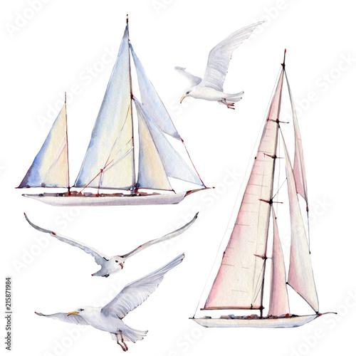 Fotografia  Watercolor Nautical set
