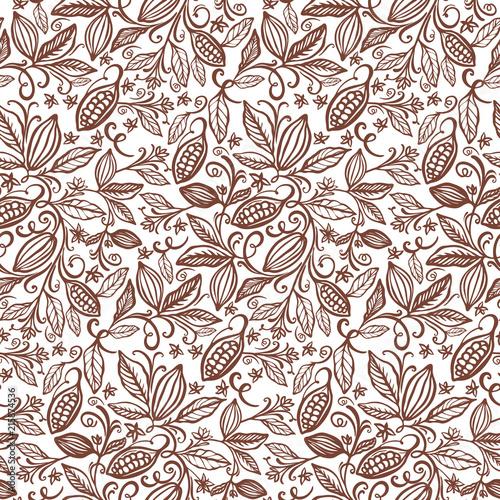 Fotografía  cacao beans seamless pattern
