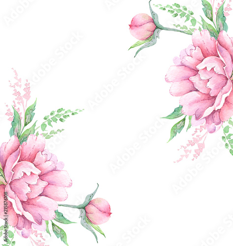 watercolor drawing bouquets flowers peonies with decorative elements
