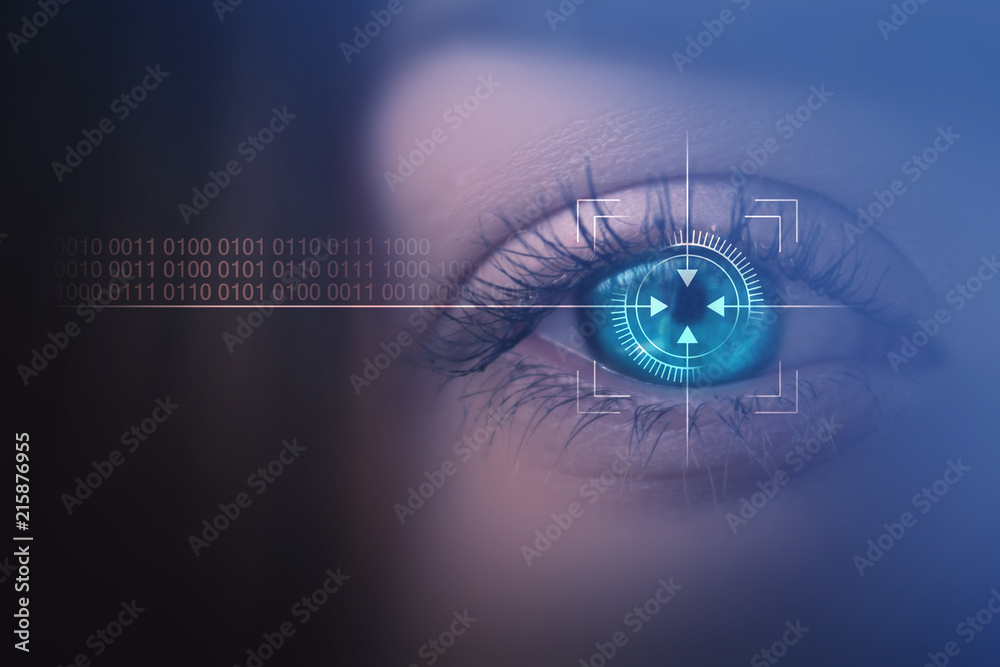 Fototapeta Biometric scan of the female eye close-up. The concept of modern virtual reality