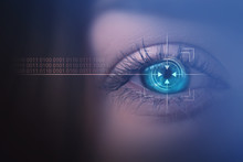 Biometric Scan Of The Female Eye Close-up. The Concept Of Modern Virtual Reality