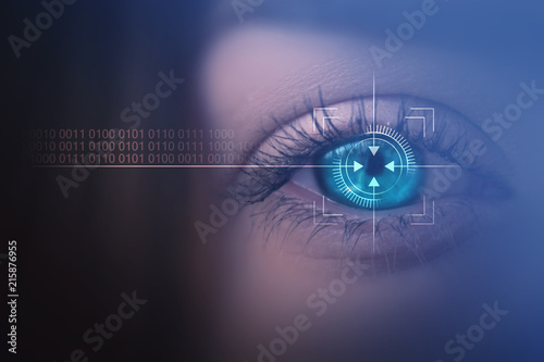 Biometric scan of the female eye close-up Fototapeta