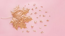 Autumn Rose Gold Maple Leaf Wi...