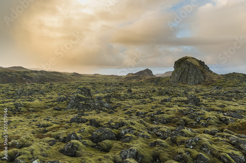 Scenic view of green landscape against cloudy sky during sunset