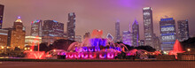 Buckingham Fountain And The Chicago, Illinois Skyline At Night.