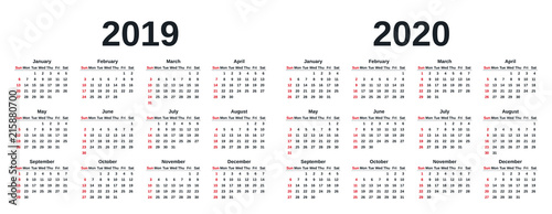 Calendar In Weeks 2020 2019, 2020 calendar. Vector graphics. Week starts Sunday. Design