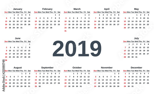 Calendar Week.2019 Calendar Week Starts Sunday Vector Stationery 2019 Template