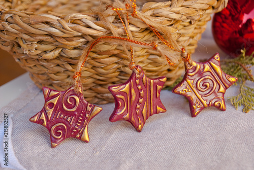 Polymer Clay Christmas Decorations.Handmade Christmas Ornaments From Polymer Clay Xmas Card