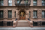 steps leading up to a brownstone building