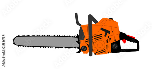 Valokuva  Chainsaw vector illustration isolated on white background
