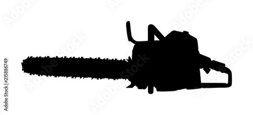 Fotografia, Obraz  Chainsaw vector silhouette illustration isolated on white background