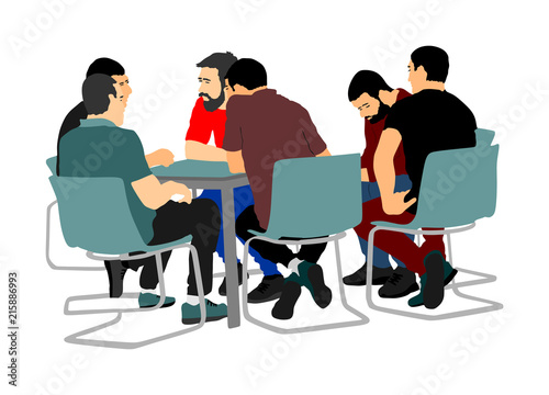 Young business people sitting and talking about new idea Poster