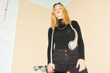 Girl In Black With Showerhead ...