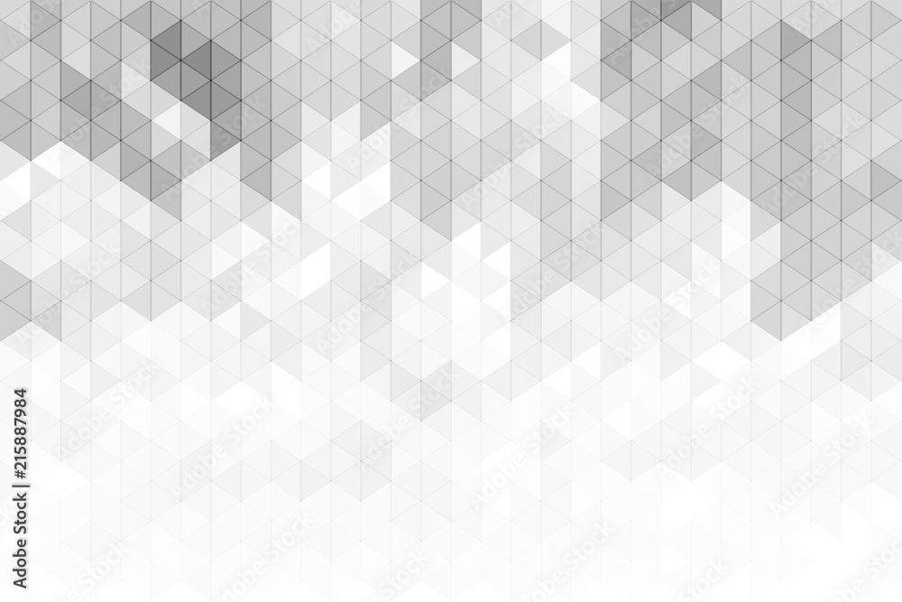 Fototapeta Abstract geometric background with grey and white color tone triangle shapes.