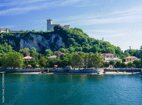Fotografia, Obraz  the Castle of Angera on a rocky cliff overlooking Lake Maggiore