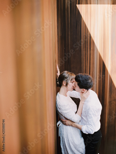 A happy couple kissing