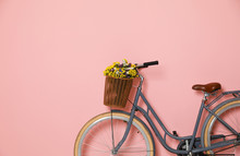 Retro Bicycle With Wicker Bask...