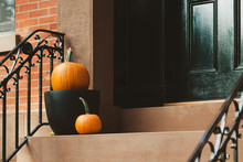 Pumpkins On A Porch Of A Brownstone In Brooklyn