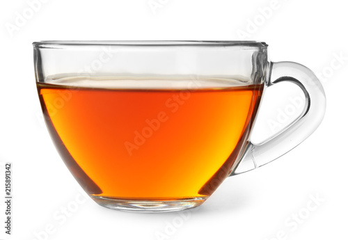Poster Thee Glass cup of hot aromatic tea on white background