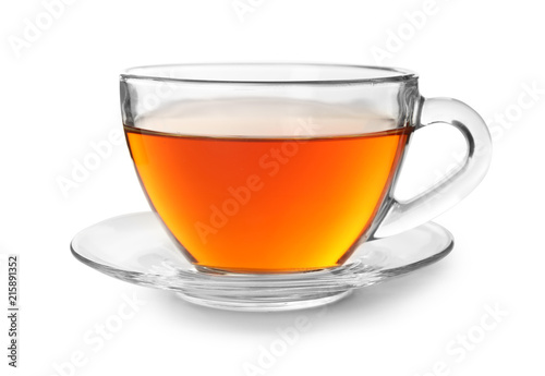 Papiers peints The Glass cup of hot aromatic tea on white background