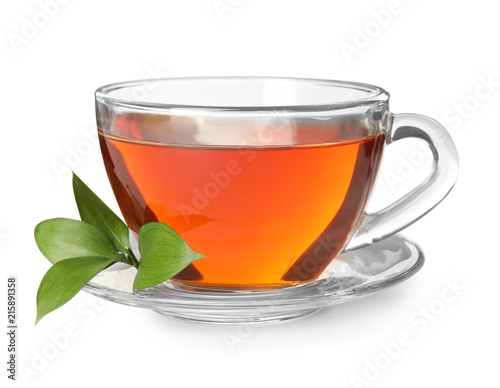 Glass cup of hot aromatic tea on white background Canvas-taulu