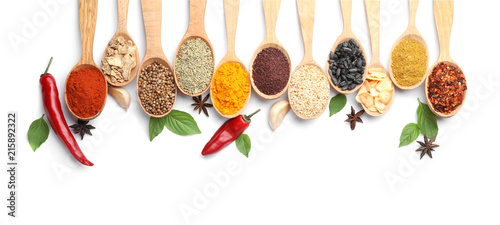 Foto op Aluminium Aromatische Composition with different aromatic spices in wooden spoons on white background