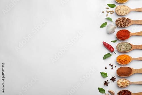 Printed kitchen splashbacks Spices Composition with different aromatic spices in wooden spoons on white background