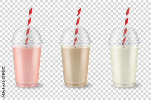 Vector realistic 3d clear plastic disposable transparent cup with pipe set Poster Mural XXL