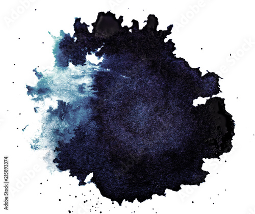 Ink Droplet Close-up Isolated on White Background