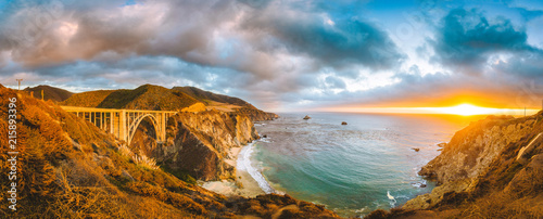Poster Verenigde Staten California Central Coast with Bixby Bridge at sunset, Big Sur, California, USA