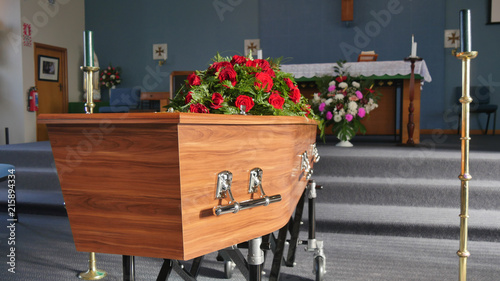 closeup shot of a colorful casket in a hearse or chapel before funeral or burial Wallpaper Mural
