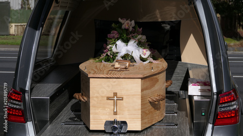 closeup shot of a colorful casket in a hearse or chapel before funeral or burial Fototapet