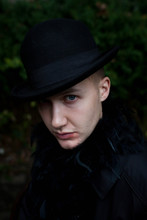 Young Man Dressed As A Vampire