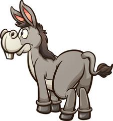Prikvačite rep na magarca. Ilustracija vektorskih isječaka s jednostavnim gradijentima. Magarac i rep na odvojenim slojevima.