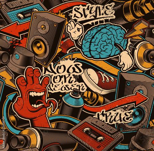 Plakat Seamless Graffiti Background.