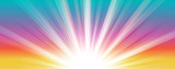 Abstract  summer background. Shiny hot sun lights horizontal banner illustration with colorful vibrant color tones.