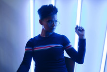 Stylish Woman In Neon Lights