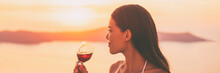 Asian Woman Drinking Red Wine ...