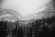 Foggy Alaskan Train Bridge Black And White