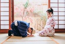 Asian Lover In Traditional Kimono Clothing