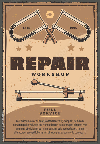 Vector retro poster of repair work tools © Vector Tradition