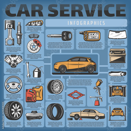 Vector infographics of car service and diagnostics © Vector Tradition