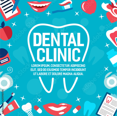 Vector poster of dental clinic tooth and smile © Vector Tradition