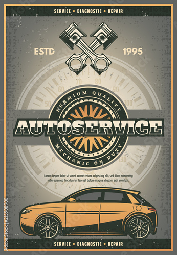 Vector car tires and engine auto service poster © Vector Tradition
