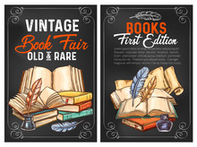 Vector Sketch Posters Or Rarity Vintage Books