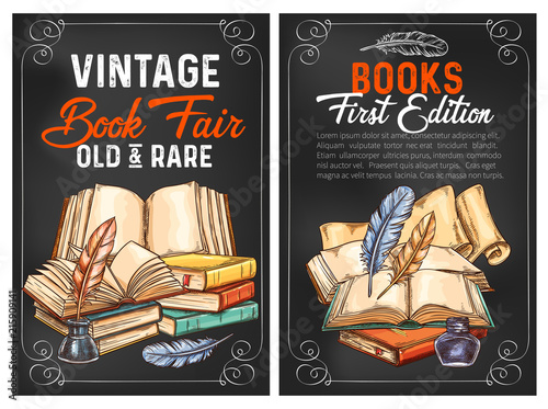 Vector sketch posters or rarity vintage books © Vector Tradition