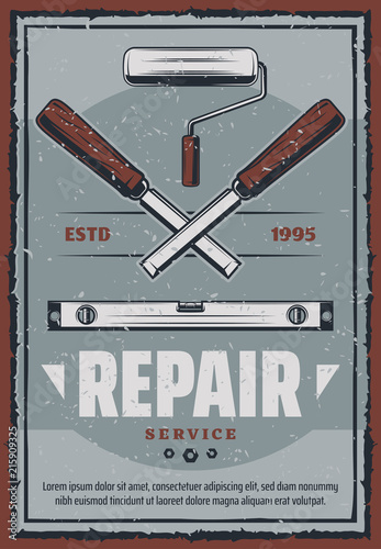 Vector retro poster of ruler and chisel tool © Vector Tradition