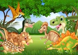 Fototapeta Dino - Cartoon happy dinosaurs living in the jungle